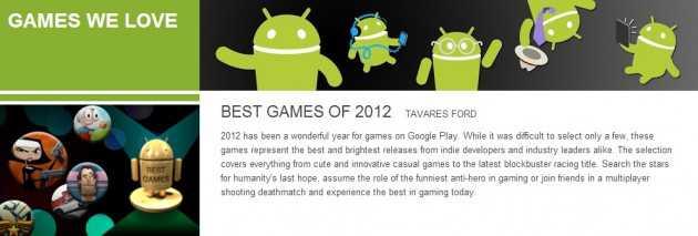 E dopo le app arriva da Google la classifica 2012 per i giochi!!
