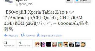 Sony tablet Z: arrivano alcune indiscrezioni sul nuovo device Android