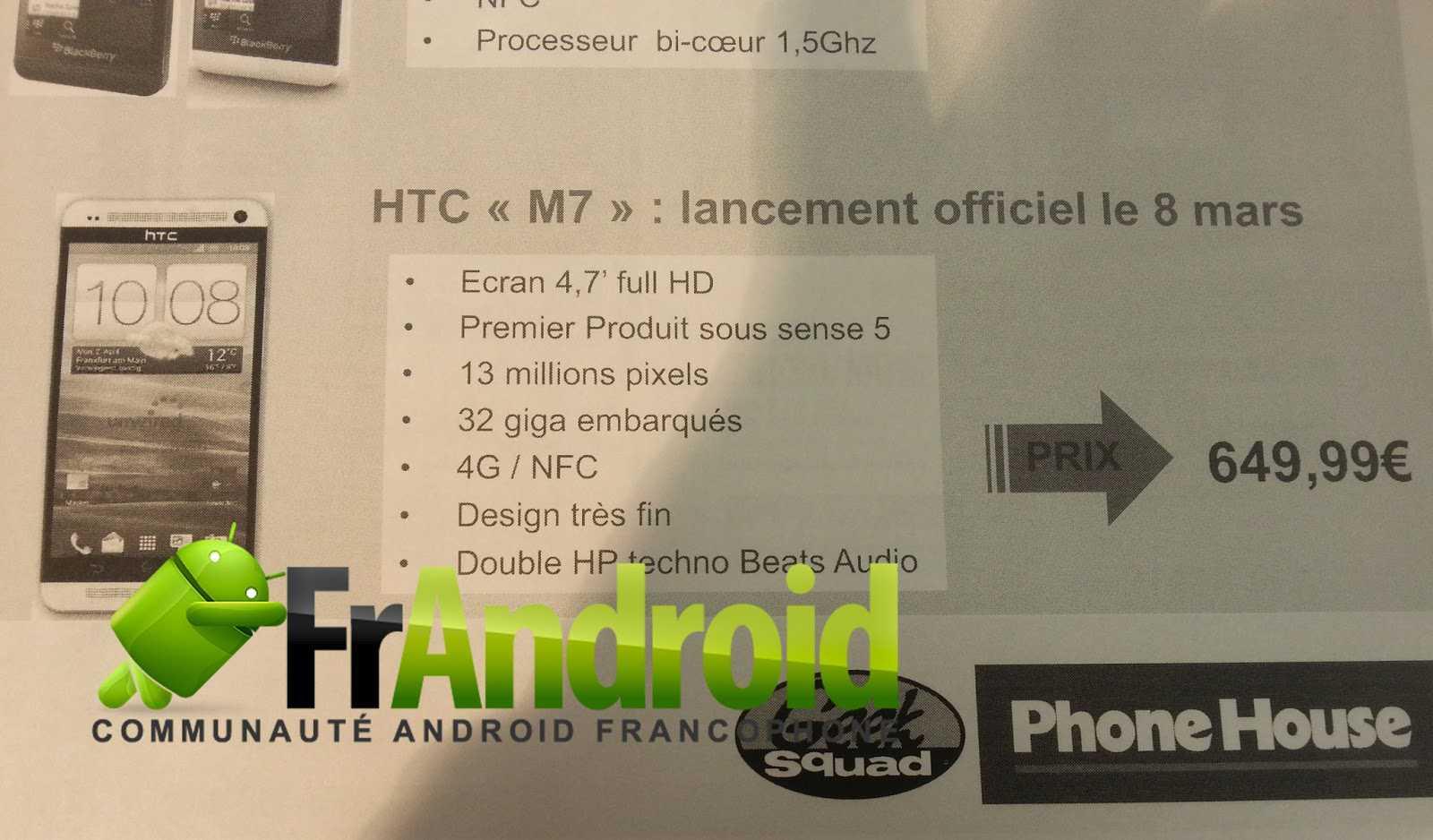 HTC M7 in arrivo l'8 marzo in Francia per € 650