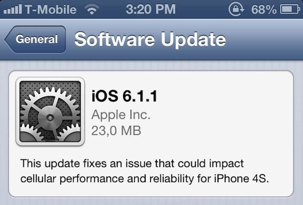 Apple inizia il roll out di iOS 6.1.1 esclusivamente per risolvere i problemi dell'iPhone 4S