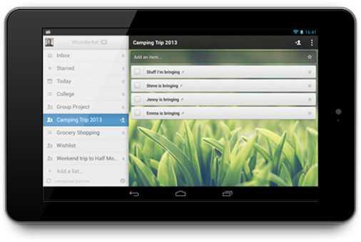 """L'app di gestione degli impegni """"Wunderlist 2"""" già sui tablet Android, presto anche sugli iPad"""