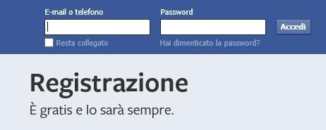 Registrazione Facebook
