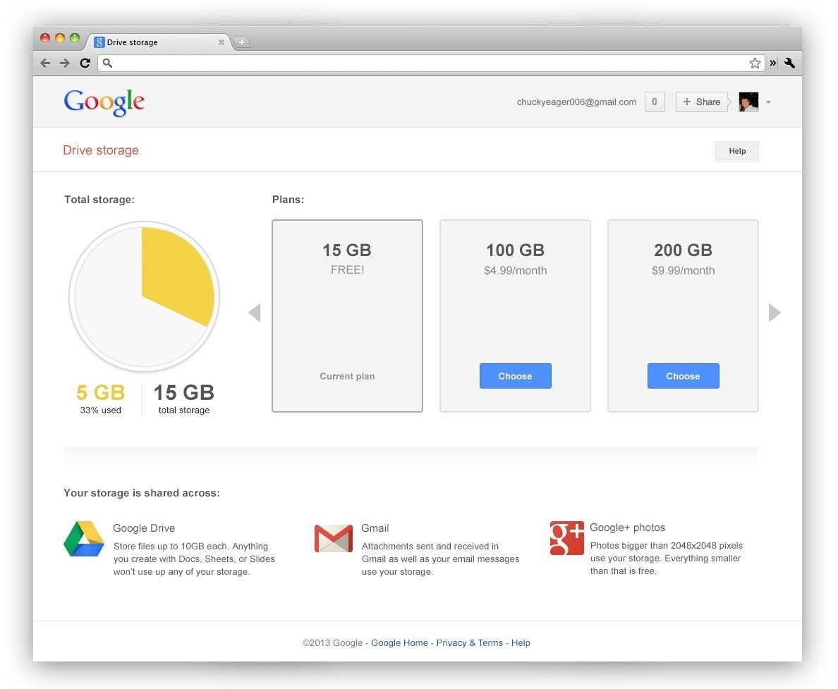 Google combina lo spazio di archiviazione:15GB per i consumatori, 30GB per applicazioni