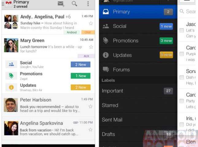 Gmail: Ufficiale l'uscita della nuova interfaccia Android e Web