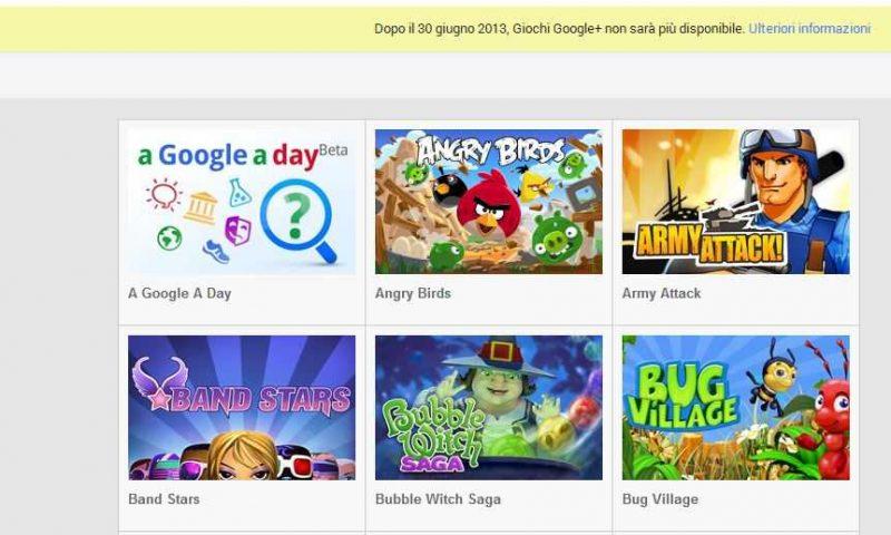Google+ Games verrà chiusa il 30 Giugno!