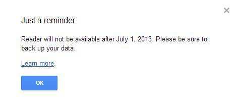 Google Reader warning