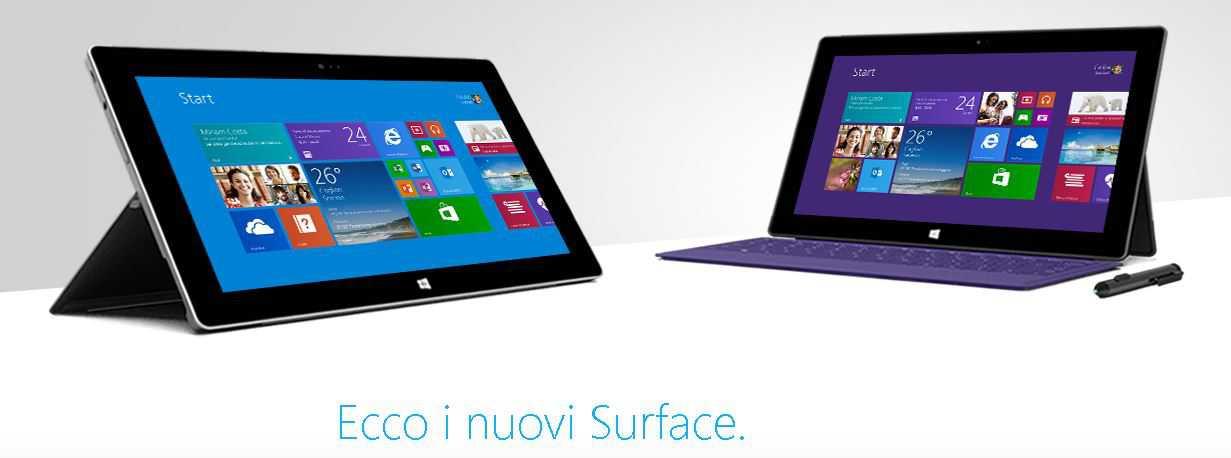 Microsoft Surface 2 e Microsoft Surface Pro 2 in dettaglio