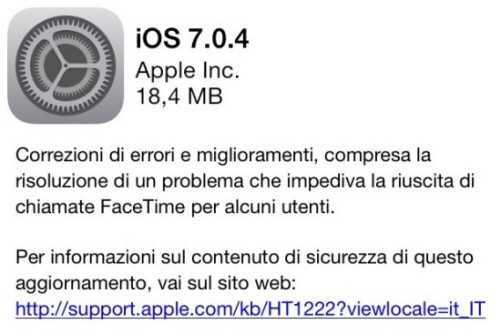 iOS 7.0.4 rilasciato da Apple