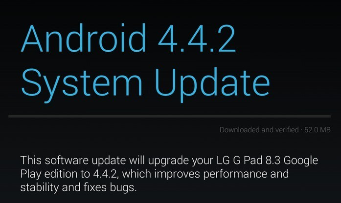 Android 4.4.2 in arrivo per LG G Pad 8.3 e HTC One Google Play Edition