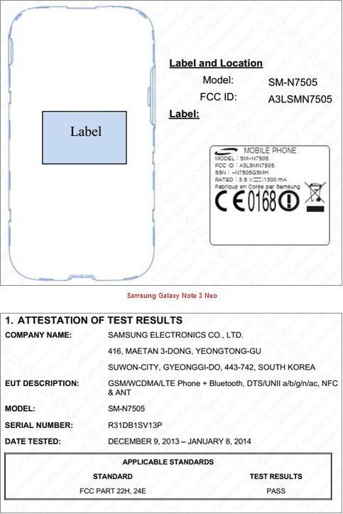 FCC per Note 3 Neo