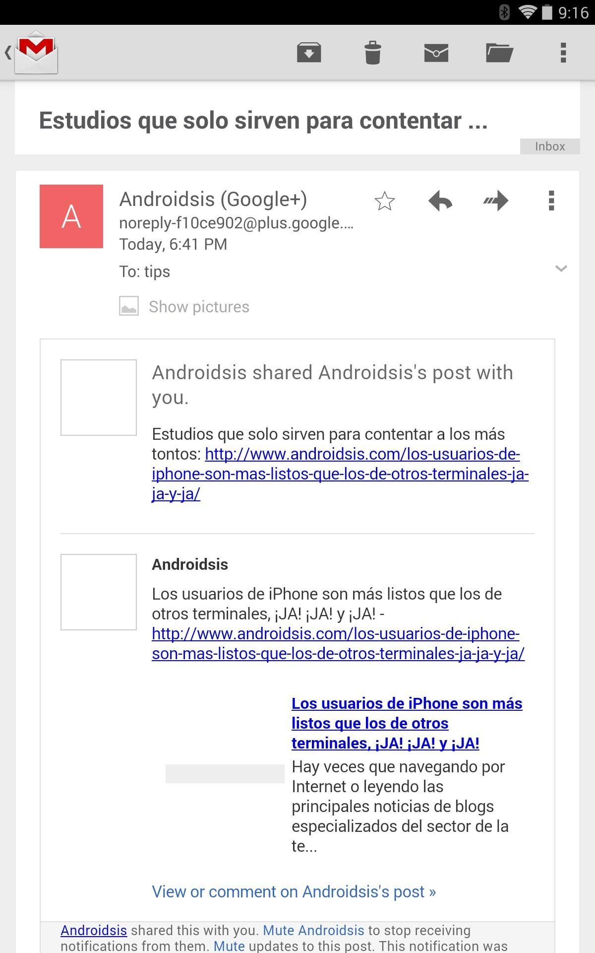 GMail per Android si aggiorna alla versione 4.7.2 con la visualizzazione automatica delle immagini (download)