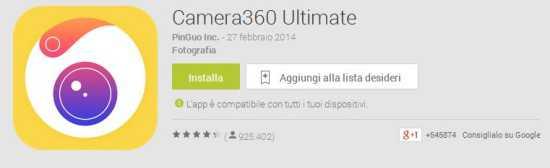 Camera360 update: l'ultima versione ottimizza l'app e aggiunge nuove features!