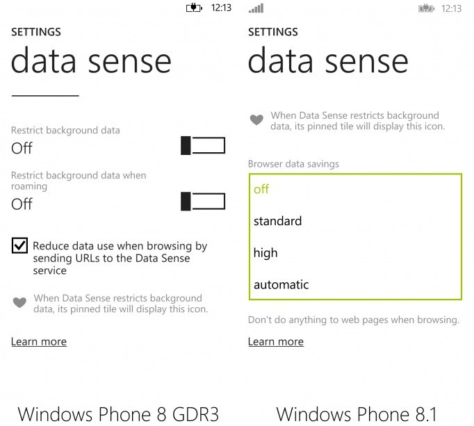 Data Sense Settings
