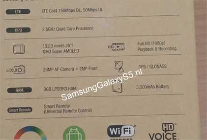 Galaxy S5: confermate le specifiche dalla foto della confezione