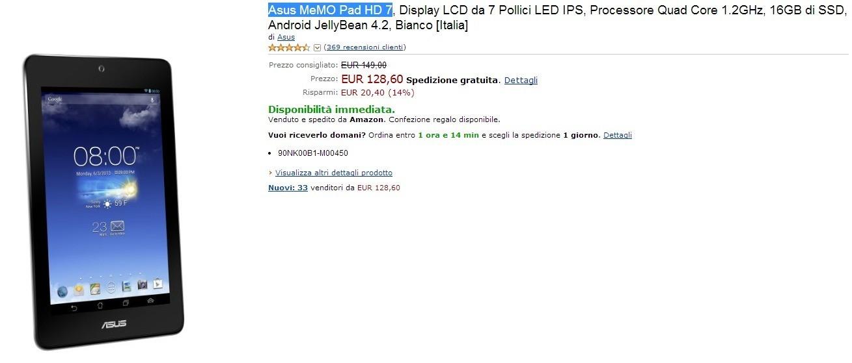 Asus MeMO Pad HD 7 in offerta su Amazon a 128.60€