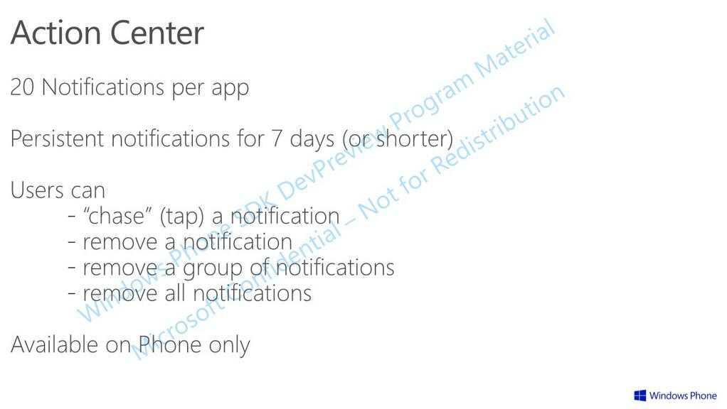 Windows Phone 8.1 | Nuovi dettagli sull'Action Center ( centro notifiche )