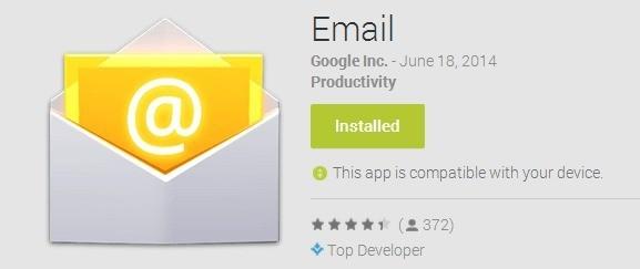 L'applicazione Email dello Stock Android è disponibile nel Play Store per tutti