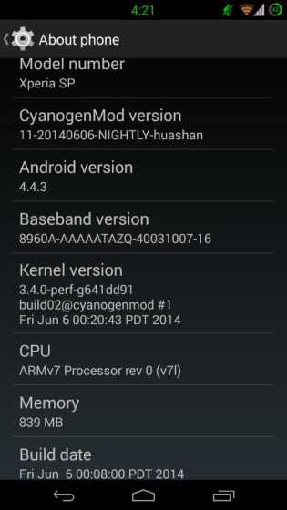 android 4.4.3 KitKat su Xperia SP