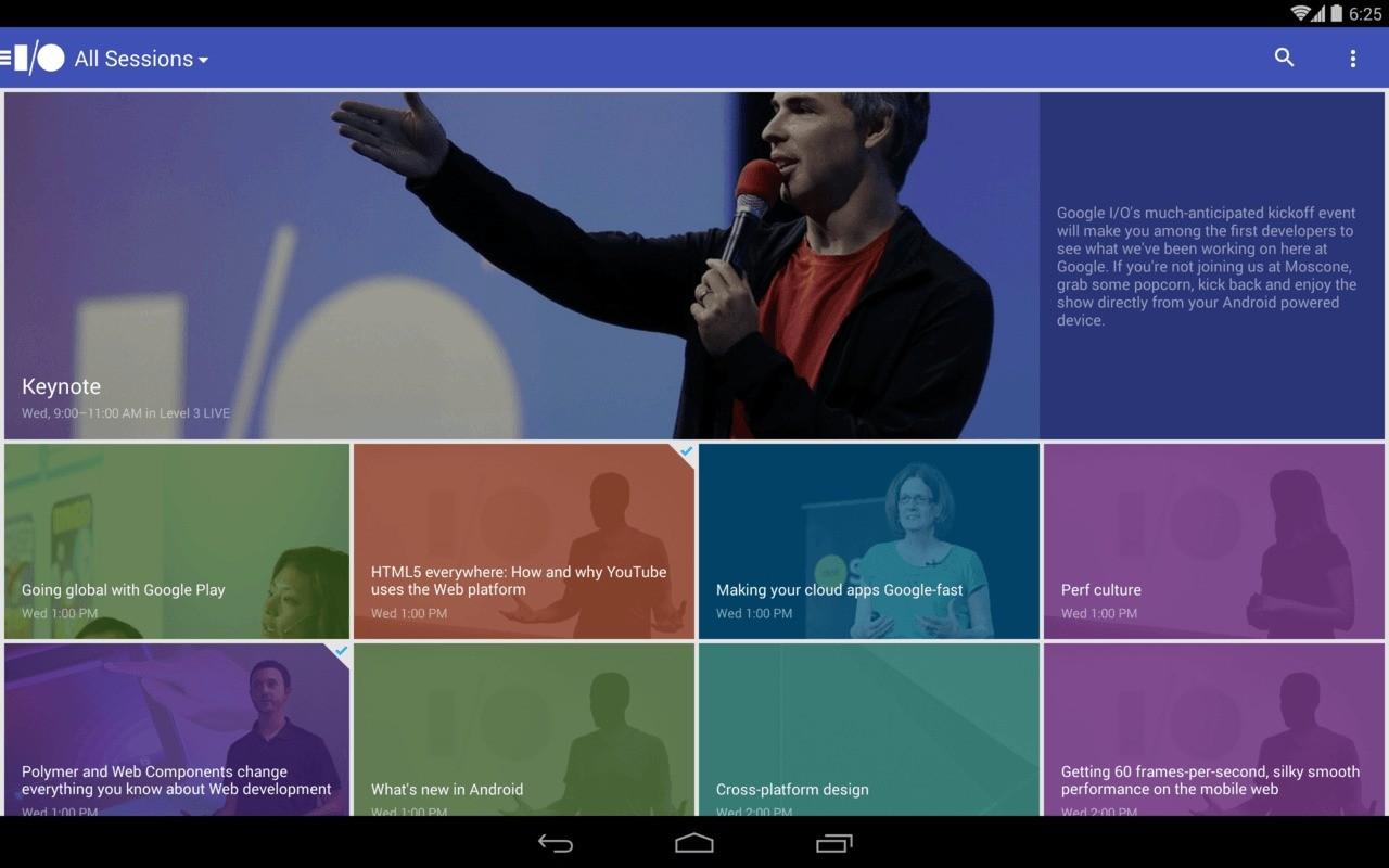 Arriva l'app per il Google I/O rilasciata da Google per Android