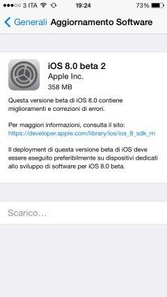 aggiornamento iOS 8 beta 2