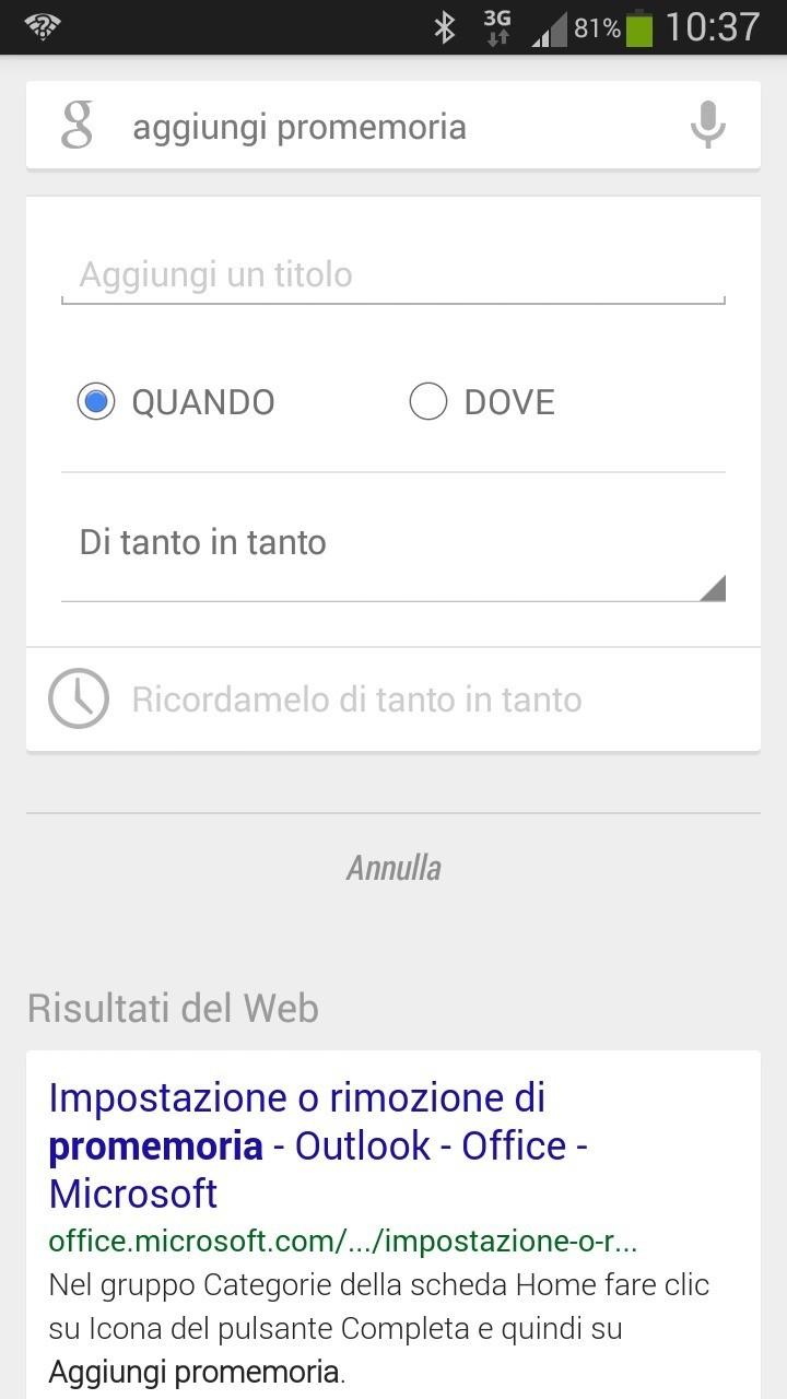 Google Now introduce i promemoria occasionali