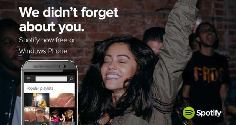Arriva Spotify in versione gratuita per Windows Phone