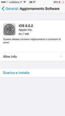 iOS 8.0.2 è disponibile ufficialmente