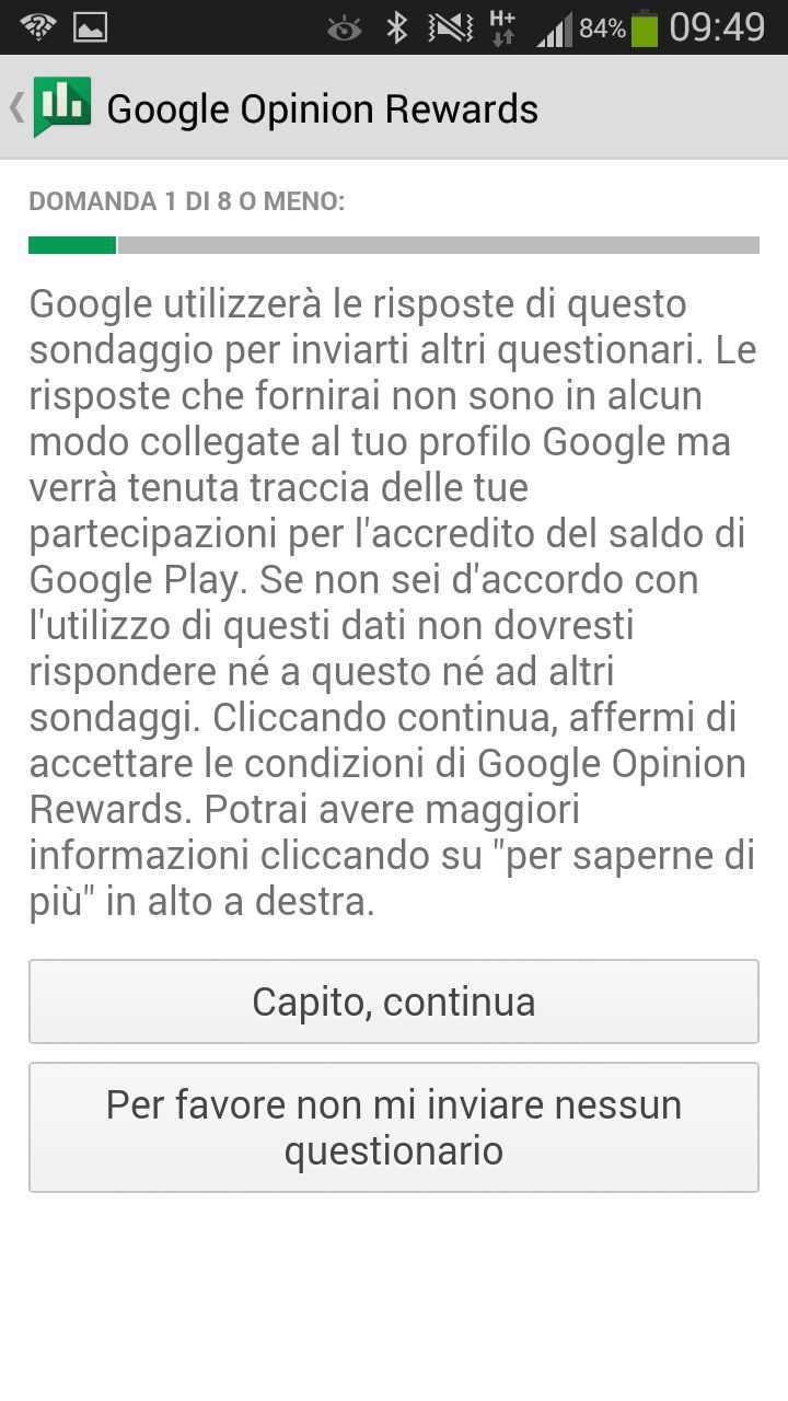 Credito Google Play gratis con i sondaggi di Google Opinion Rewards