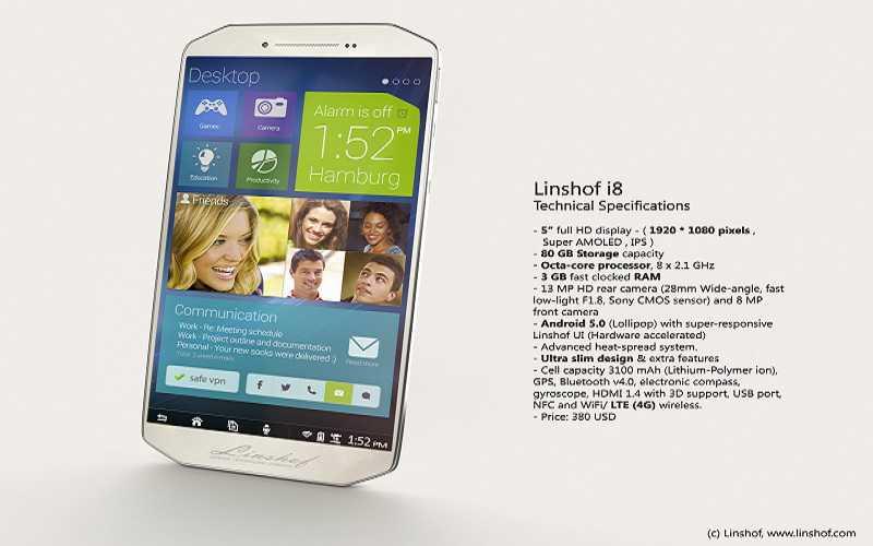 Linshof presenta i8, smartphone con 80GB di memoria