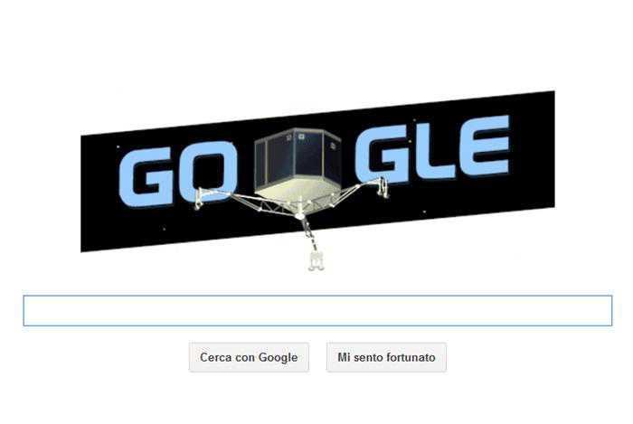 Google dedica un doodle a Rosetta da poco atterrato su una cometa