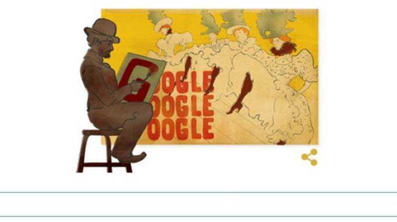 Google dedica un Doodle ai 150 del genio francese Henri de Toulouse-Lautrec