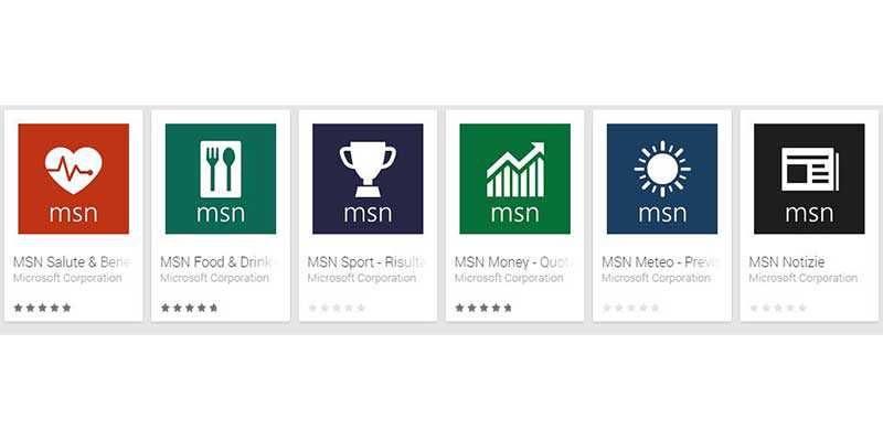 Le app MSN anche su Android iOS e Amazon