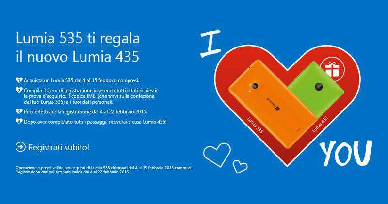 """Promozione Microsoft """"Amore Esagerato"""" per San Valentino: Lumia 535 e Lumia 435 a 129€"""