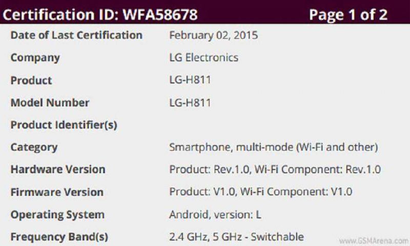 LG H811 riceve la certificazione Wi-Fi Aliance, è LG G4?