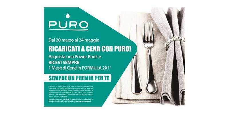 Ricaricati a cena con PURO, il contest per vincere cene 2×1