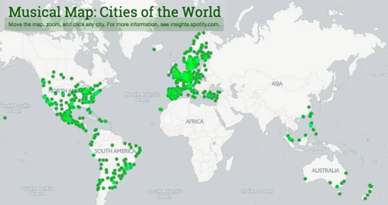 Spotify svela i gusti musicali di tutto il mondo