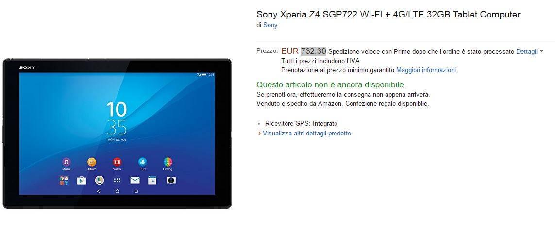 Xperia Z4 Tablet LTE 4G 32GB disponibile anche in Italia