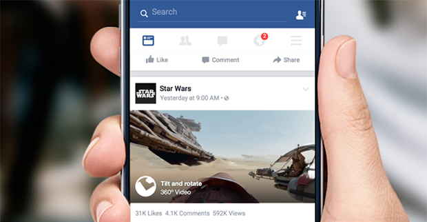 Facebook comincia il rilascio dei video 360 gradi all'interno del News Feed