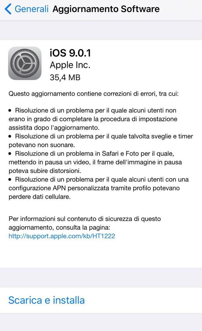 Apple rilascia iOS 9.0.1 per correggere gli errori di gioventù di iOS 9