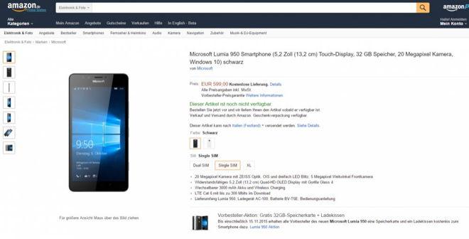 Lumia 950 e Lumia 950 XL in pre-ordine su Amazon Germania