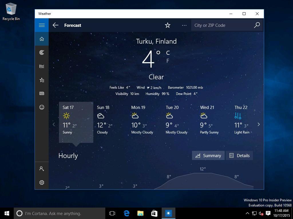 Windows 10, emersi screenshot build 10568