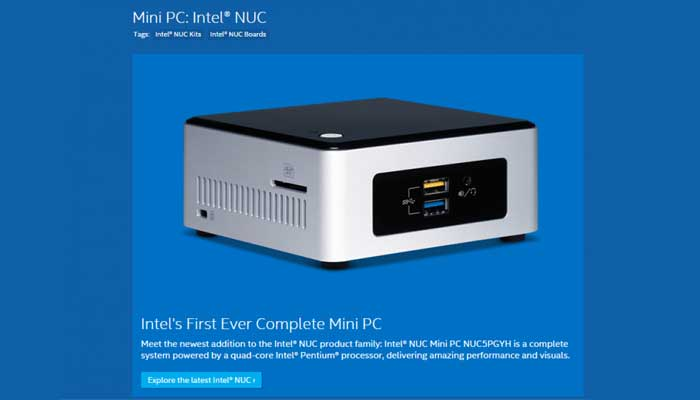 Nuovo Intel NUC mini PC Windows 10
