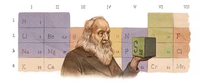 Google celebra con un doodle Mendeleev che dalla fredda Siberia inventò la tavola degli elementi