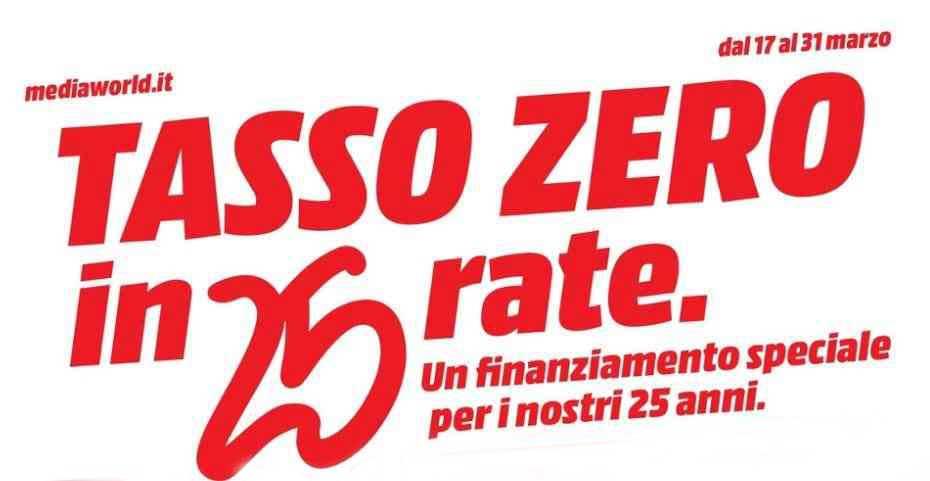 Nuovo volantino Mediaworld, festeggia ancora i 25 anni con il tasso zero