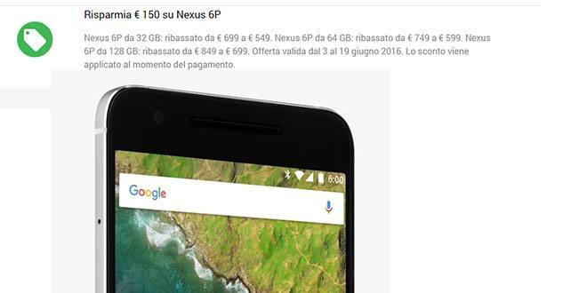 Nexus 6P torna in offerta presso il Google Store
