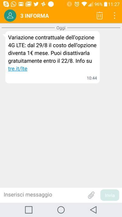 3 italia 4g lte a pagamento