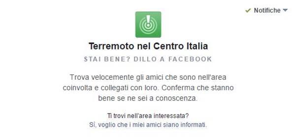 Terremoto Centro Italia: Facebook attiva il safety check per conoscere la situazione di parenti ed amici coinvolti dal sisma