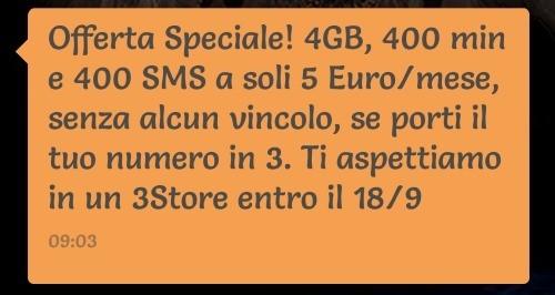 3 Italia sbaraglia con All-in 400 e SuperInternet: 400 minuti, 400 SMS, 7GB a soli 5€
