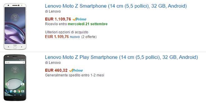 Lenovo Moto Z e Moto Z Play disponibili su Amazon. Ma occhio ai prezzi…