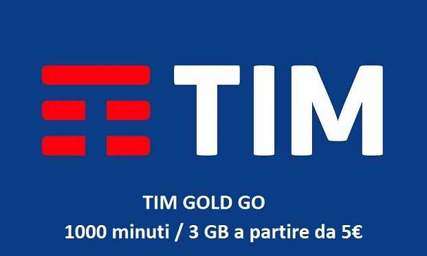 TIM Gold Go: 1000 minuti e fino a 6GB da 5 euro solo per i clienti 3 Italia